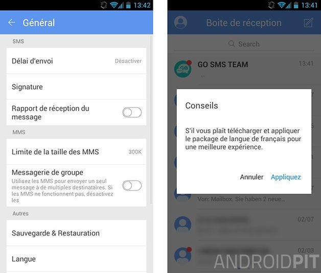 meilleures applications sms android gosms pro