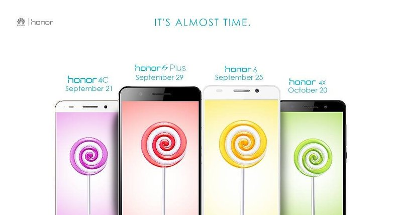 mise a jour android lollipop smartphones tablettes honor 4c honor 6 plus honor 4x