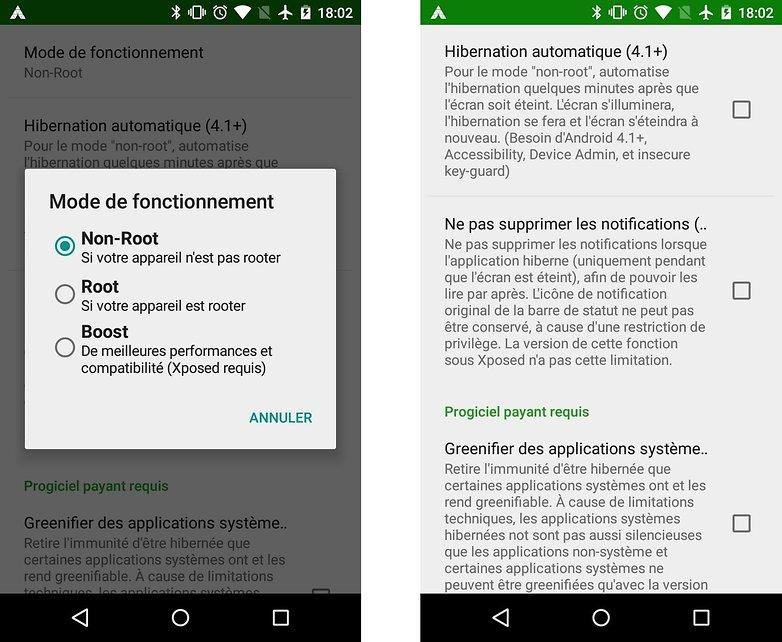 test comparatif doze vs greenify fonctions telechargement images 03