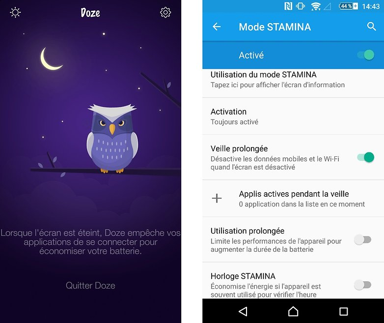 test comparatif doze vs stamina fonctions telechargement androidpit fr images 01