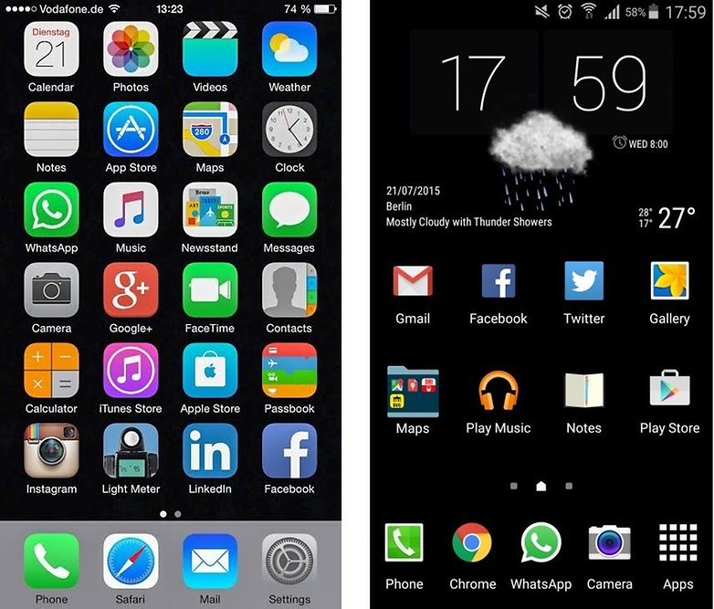 test comparatif galaxy note 5 vs iphone 6 plus comparaison ios 8 vs android touchwiz samsung images 00