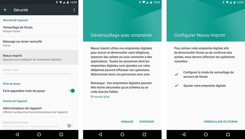 test complet google nexus 5x lecteur scanner capteur empreintes digitales fonction android 6 0 marshmallow demonstration image 00