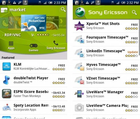 Sony Ericsson Sets up Its Own Page on Android Market, Demotes My