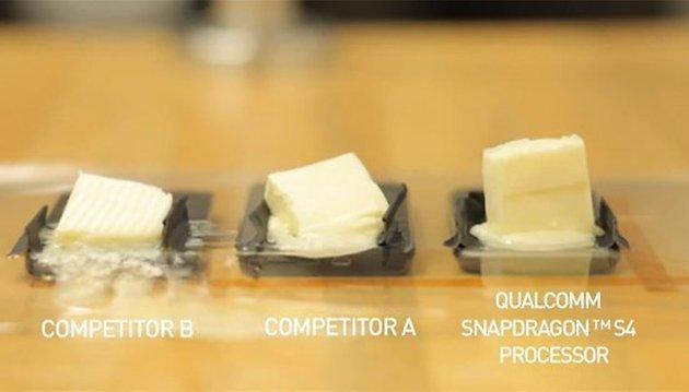 O Snapdragon S4 prova que é o menos quente no teste da manteiga