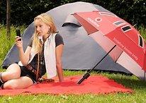 Este guarda-chuva aumenta o seu sinal e carrega o seu celular