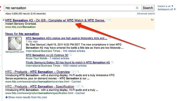 HTC Sensation Arriving June 8th, According to Google AdWords