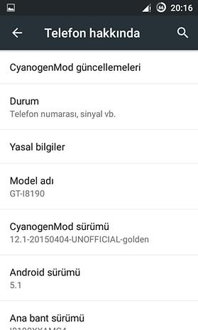 Samsung Galaxy S3 Mini Android Lollipop 5.1.1 ekran görüntüleri