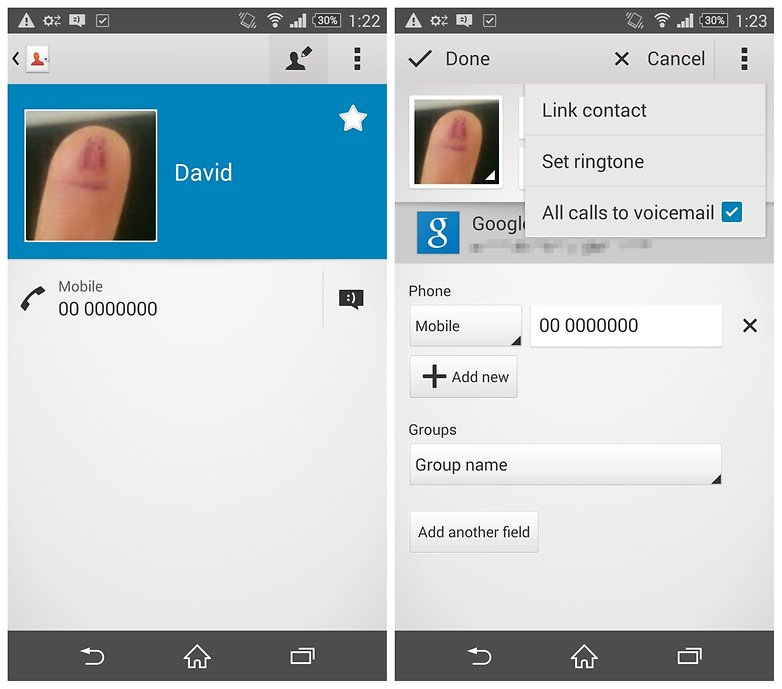 AndroidPIT Xperia Z3 contact all calls to voicemail x
