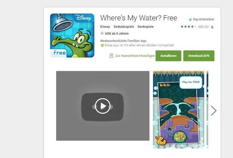 Altershinweis Google Play Store