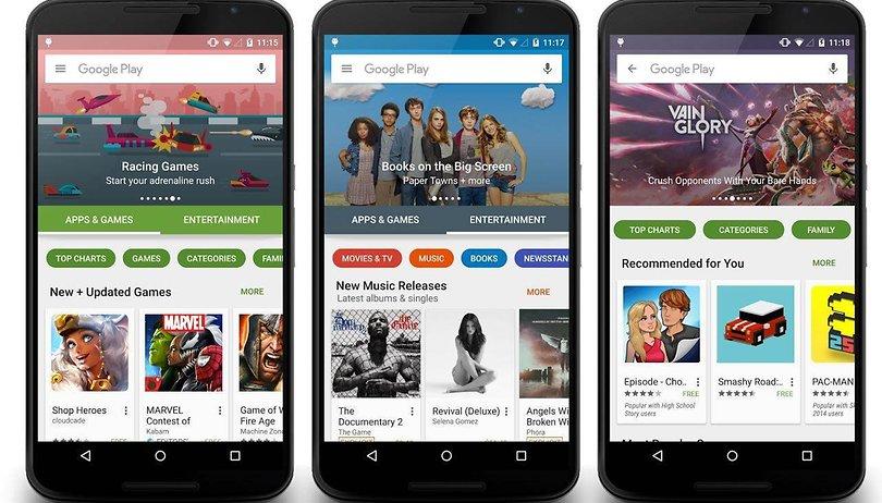 Der Google Play Store bekommt ein neues Design spendiert