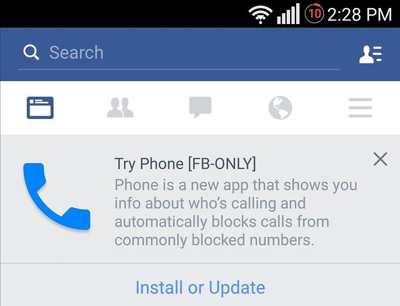 facebook phone install update message