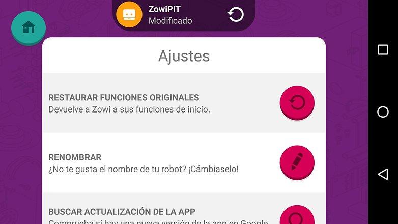 Zowi app restaurar
