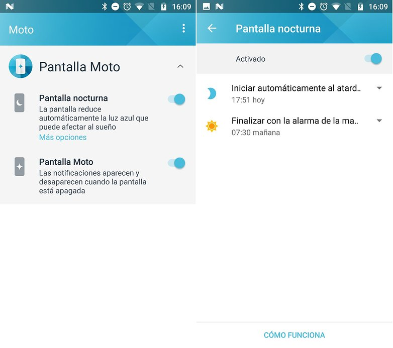 AndroidPIT Moto pantalla nocturna