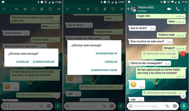 AndroidPIT borrar mensajes whatsapp para todos despues 7 minutos