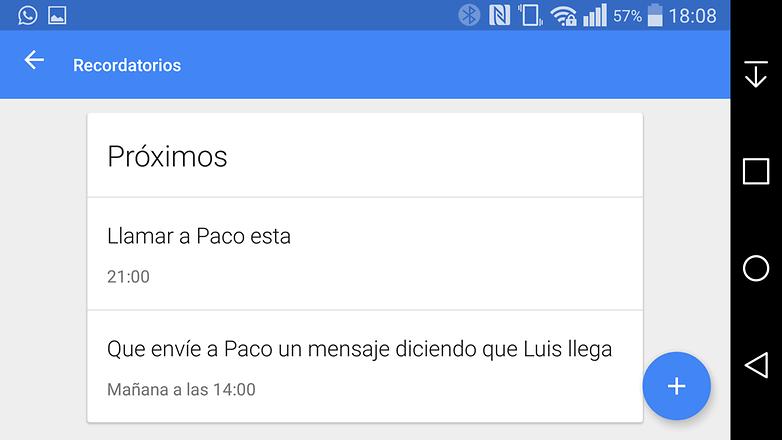 Google now recordatorios