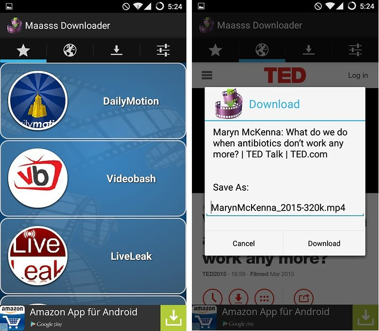 descargar videos Maass downloader android