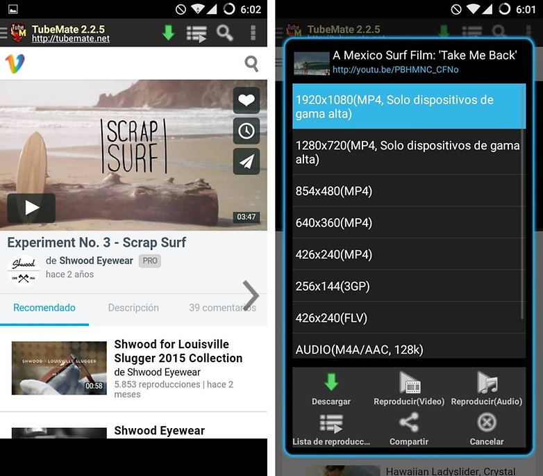 descargar videos tubemate android