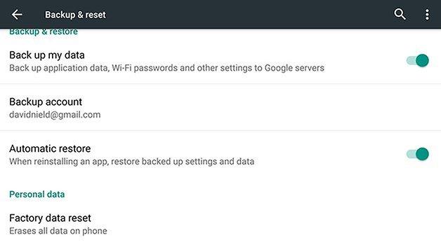 AndroidPIT Nexus 6 factory reset