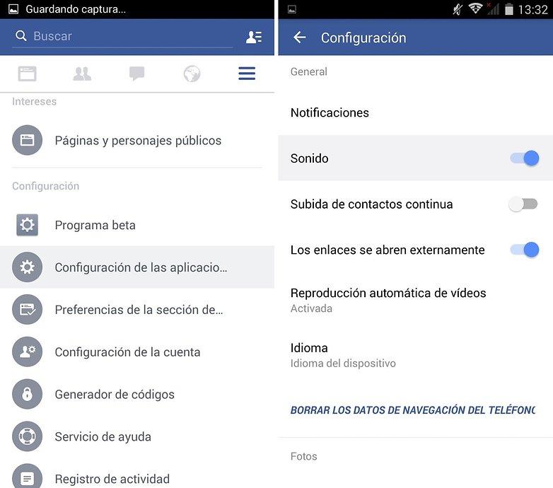 configuracion sonido facebook