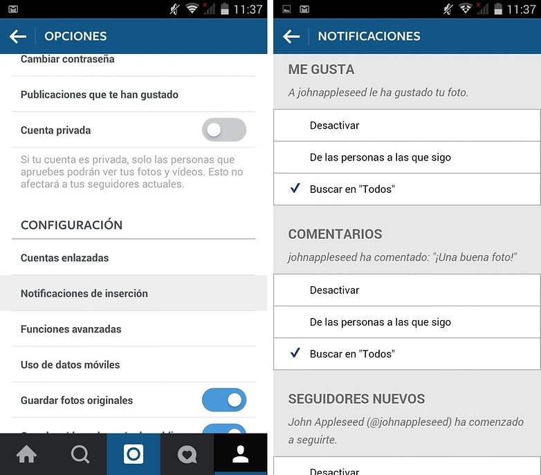 instagram notificaciones esp
