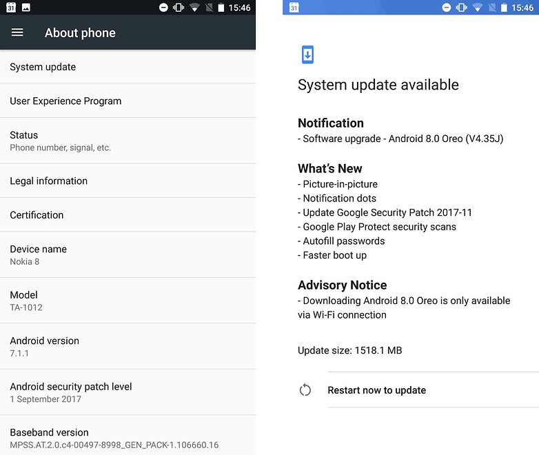 AndroidPIT Nokia 8 Android 8 0 update