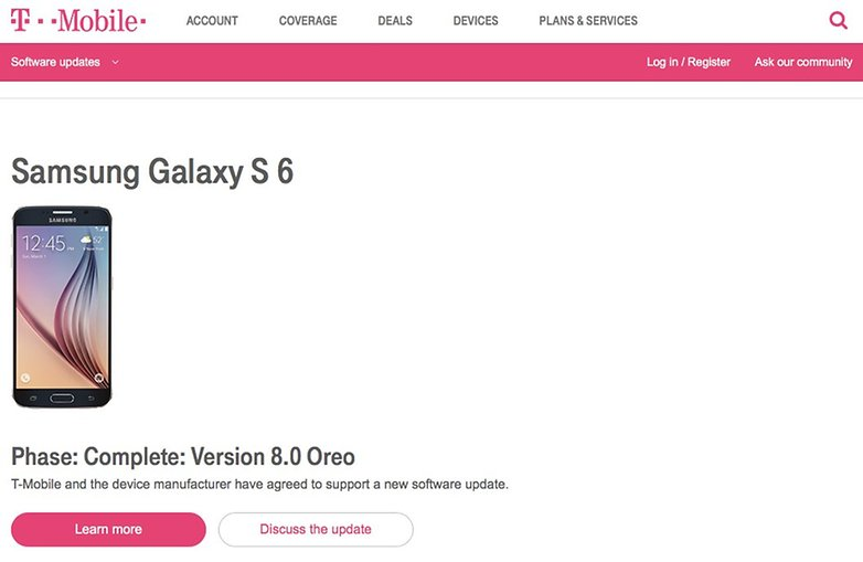 Galaxy S6 Android Oreo T Mobile