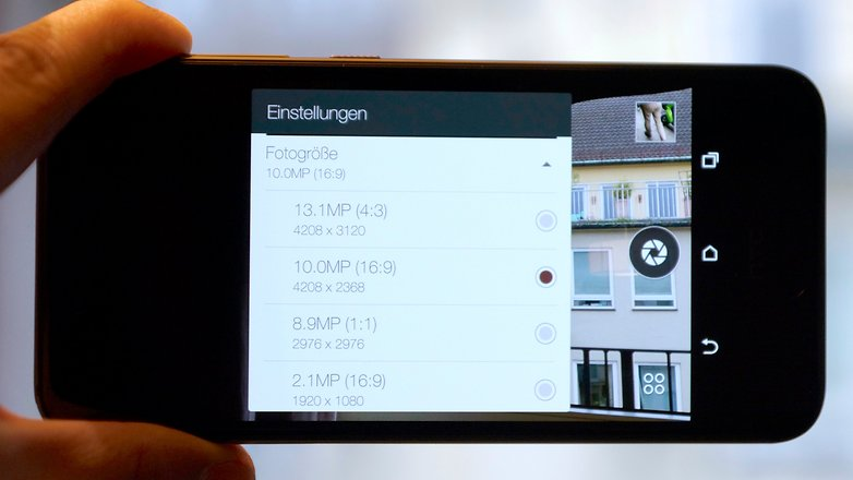 HTC One A9 camera resolution settings