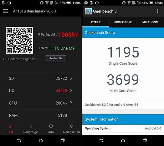 HTC One M9 com Android 6.0 no teste benchmark