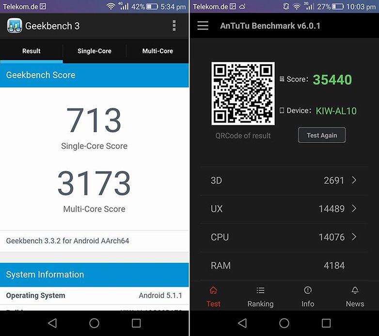 Honor 5x Geekbench Antutu