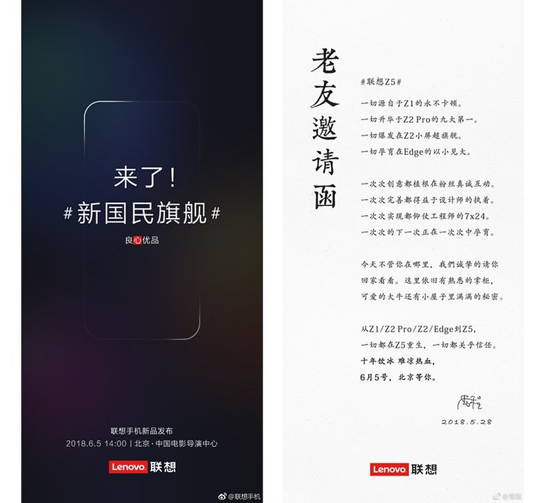Lenovo Z5 Launch date Lettere to fans ZUK