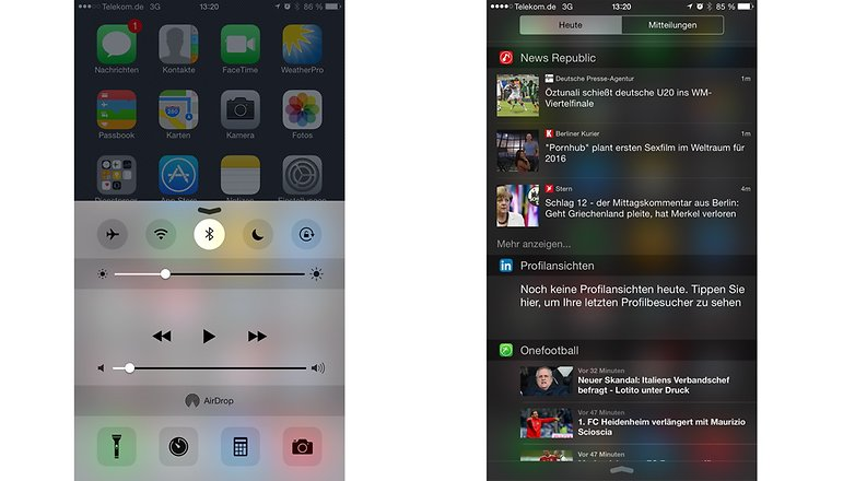 iOS 8 control center notification center
