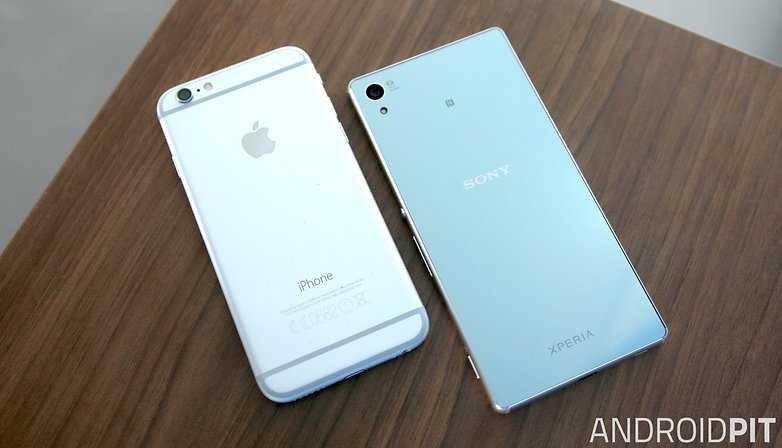 sony xperia z3 plus vs apple iphone 6 back