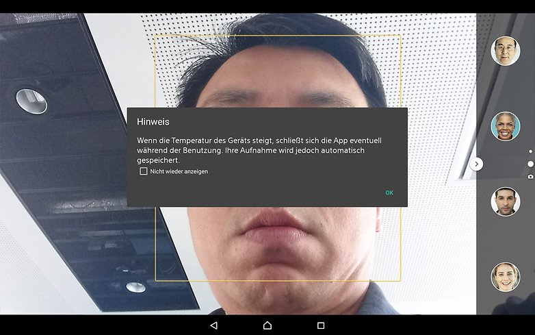 xperia z4 tablet camera warning de