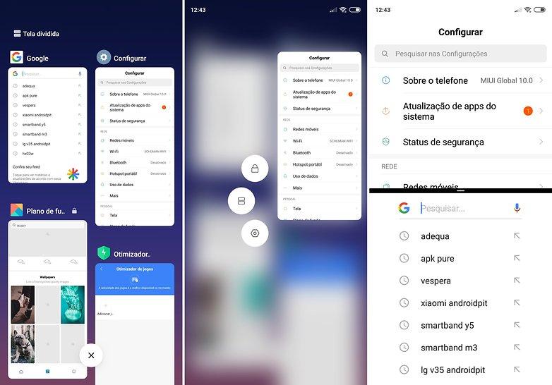 menu aplicacoes recentes