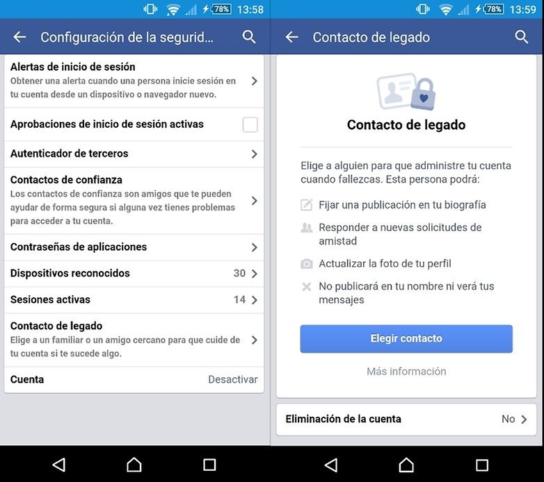 contacto legado app facebook