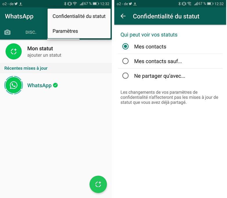 androidpit FR confidnetialite statut whatsapp