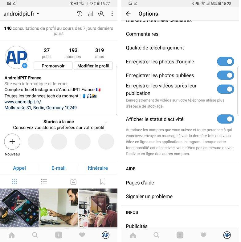 androidpit derniere connexion instagram