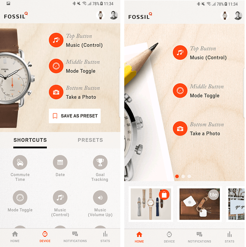 androidpit fossil q commuter app