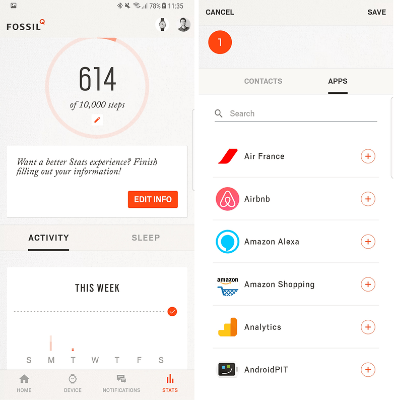 androidpit fossil q commuter software