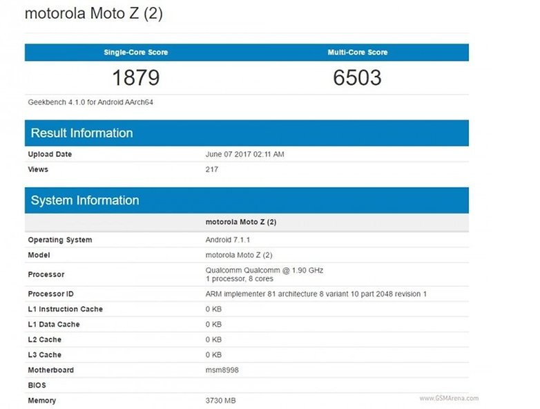 androidpit geekbench moto z2 play