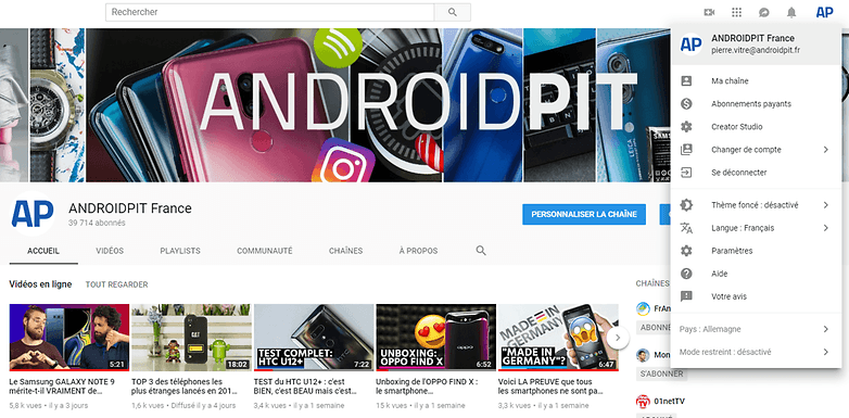 androidpit theme fonce youtube