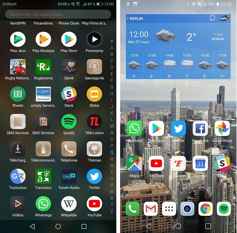 On the left, the WhatsApp icon on the Huawei Mate 10 Pro, on the right the icon on the LG V30.