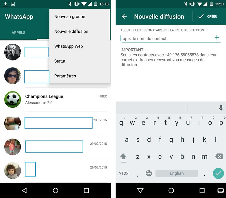 whatsapp nouvelle diffusion