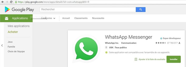 whatsapp url google play