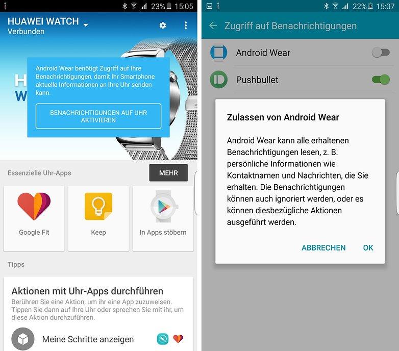 android wear benachrichtigungen aktivieren