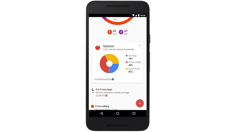 google fit nutrition infos