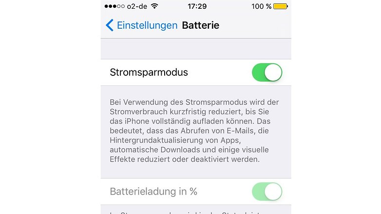 ios 9 iphone energiesparmodus
