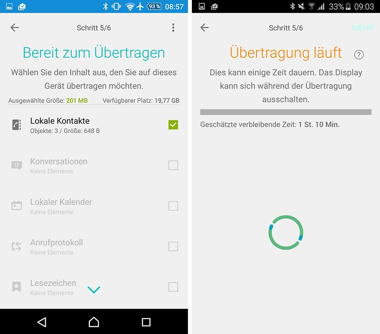 xperia transfer mobile data