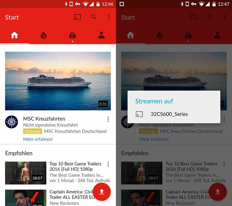 youtube app auf dem smartphone verbindet sich mit smart tv von panasonic