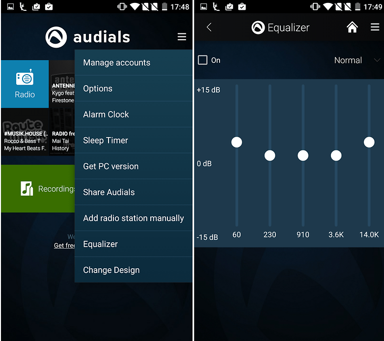 audials screenshot options equalizer